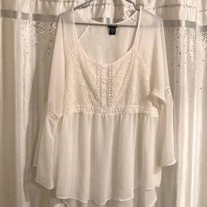 torrid Tops - White lace torrid top with bell sleeves!